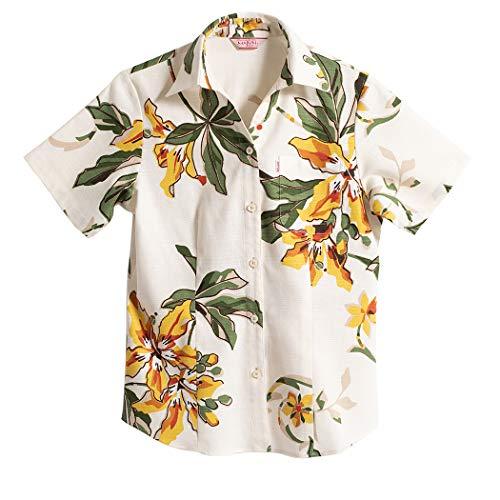 [MAJUN (マジュン)] 国産シャツ かりゆしウェア アロハシャツ 結婚式 レディース シャツ ボタンダウン ポッピングツリー(スキッパー) ホワイト×イエロー LL