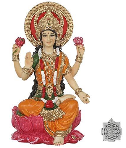 Lakshmi – Altar Supply Kit – 10,2 cm (H) Farbe bemalte Lakshmi Statue Hindu-Göttin des Reichtums und des Wohlstands ~ Lotus Sri Yantra Ornament