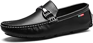 LFSP Mens Penny Loafers Boat Shoes Driving Loafer for Men Boat Moccasins Slip On Style PU Leather Metallic Decoration A (Color : White, Size : 41 EU)