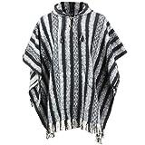 LOUDelephant Poncho à capuche 100% coton tissé Gheri Style mexicain -  Noir - Taille unique