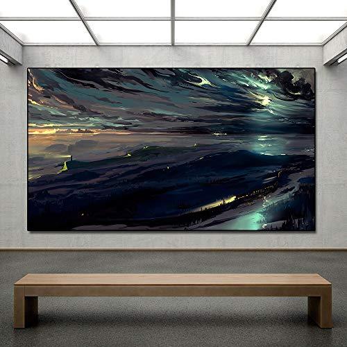 ganlanshu Paisaje Cielo Nocturno Arte de la Pared Oscura Lienzo Pintura al óleo Lienzo Sala de Estar decoración del hogar Pintura sin Marco 40cmX60cm