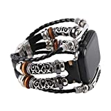 Konafei Compatible with Apple Watch Band 44mm 42mm 40mm 38mm iwatch Series SE 6 5 4 3 2 1, Leather Boho Bracelets Jewelry Multilayer Metal Cuff Retro Strap for Men&Women (Black, 38/40mm)