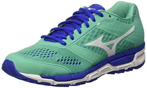Mizuno Mizuno Synchro Mx - Zapatillas de running Mujer, color Verde - Green (Electric Green/White/Dazzling Blue), talla 39 EU (6 UK)