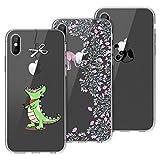 Yokata [3 Packs Funda iPhone X iPhone XS Carcasa Silicona Transparente Case Ultra Slim TPU Gel Bumper Case Shock Protección Anti-Arañazos con Dibujos Case Cover - Greedy Dragon + Panda + Elephant