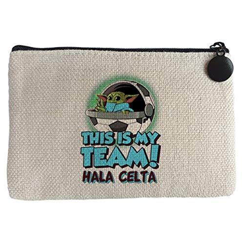 Diver Bebé Monedero parodia baby Yoda mi equipo de fútbol Hala Celta - Beige, 15 x 10 cm