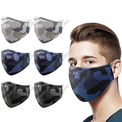 Cloth Face Mask, XDX Camo Face Masks Washable with Adjustable Ear Loops, Reusable Face Masks for Men, Women - Medium Size-6 Pack