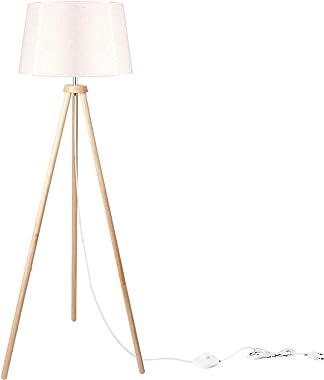 CCLIFE Lámpara de Pie Trípode Moderna de Madera, Bombilla máx.60W, Lámpara de Pie Metálica de E27, 148 cm para Salón Dormitor