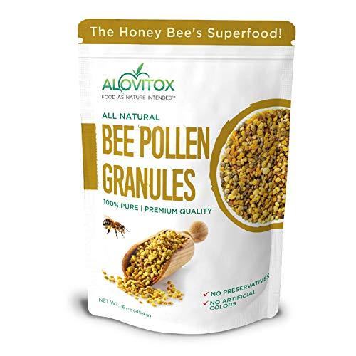 ALOVITOX Bee Pollen Granules | 100% Pure, Natural Raw Bee Pollen - Antioxidants, Proteins, Vitamins B6, B12, C and A, Amino Acids and More | 16 oz Bag