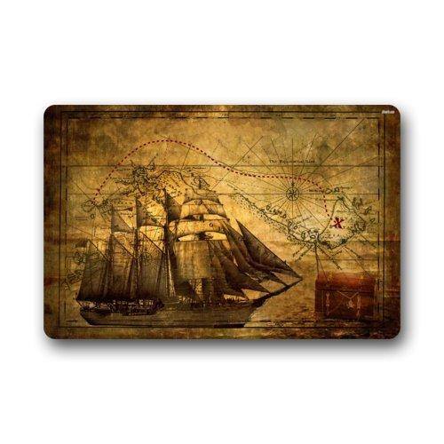 Felpudo náutico vintage náutico con diseño de barco pirata para interiores o exteriores, decoración del hogar, rectangular, 23.6 pulgadas de largo x 39.7 cm de ancho, 3/16 pulgadas de grosor.