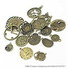 18 Pcs/set Clock Pendant Charms, Multicolored Mixed Antique Bronze Watch Gear Cog Wheel Charms Steampunk Clock Pendant DIY Jewelry Making Accessories #3