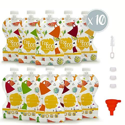 Lot de 10 Gourdes Réutilisables Sweety Fox - Gourdes Compote et Purée 150 ml - Double Zip Hermétique - Facile à Remplir, Nettoyer et Transporter - avec Goupillon et Entonnoir - Bébé et Enfant