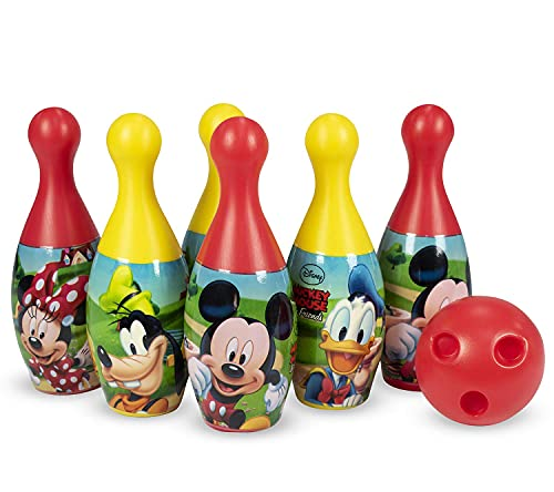 Vision Appliances 6 pins 1 Ball Bowling Game Set for Kids Sport Toys Gift for Boys and Girls Under 2 to 8 Years Old- Plastic,Multi Color ,Pack of 7 Pcs (Mickey)