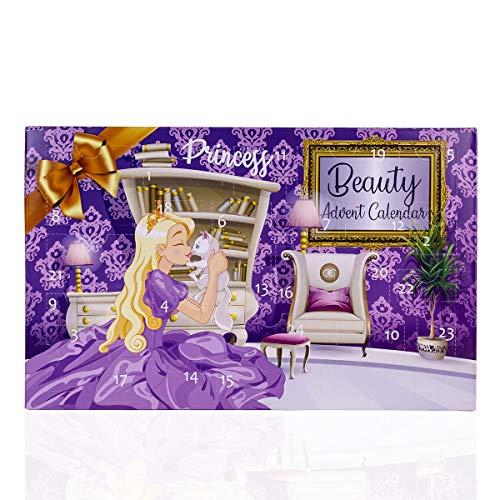 accentra Calendario dell'Avvento da principessa, per ragazze, con 24 trucchi, bellezza, cosmetici e gioielli per un periodo dell'Avvento diverso e alla moda
