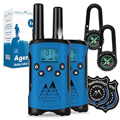 Monte Stivo® Agent walkie Talkie niños | Juego con brújula y Placa | Regalo de Juguetes Ideal para niño y niña a Partir de 5 años (Azul)