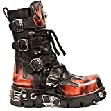 Newrock M 591-S1 Classic Black RED Flame Metallic Leather Boot Biker Goth Boots (8)