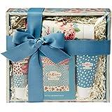 Cath Kidston Beauty Cottage Patchwork - Cesta de mimbre (100 ml, crema de manos, 50 ml, 4 sales de baño, 75 ml)