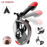 Full Face Snorkel Mask - Patent Nose Equalizer & Foldable Tube Easy Breath - Integrated Snorkeling Mask Anti-Fog Anti-Leak 180° View - Ideal for Youth & Adult Swimming Diving and Scuba (Black, Large)