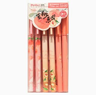 Cute Pens 0.5 mm Black Ink Gel Pens Set Toshine Black Ink Pens Gel Ink Roller Ball Fine Point Pens for Kids Girls Children Students Teens 12 Pcs (Peach)