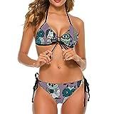 YJWLO Búhos para mujer Bikini Set Traje de baño Playa Trajes