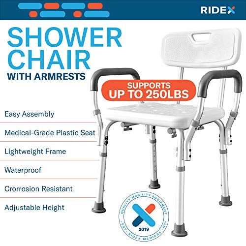 Ridex Waterproof Shower Chair - Adjustable Bathtub and Bathroom Wide Back Safety Seat with Comfortable Grip Handles, Sturdy Anti-Slip Rubber Feet for Elderly, Surgery Recovery, Handicap