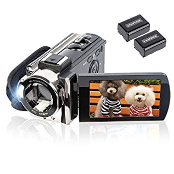 Video Camera Camcorder Digital Camera Recorder kicteck Full HD 1080P 15FPS 24MP 3.0 Inch 270 Degree Rotation LCD 16X Zoom Camcorder with 2 Batteries 604s