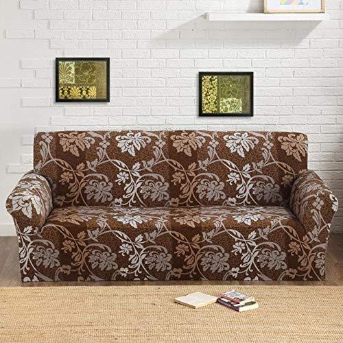 XCVBSofa hoes 1/2/3 zits bank hoes bedrukt retro elastische bank hoes fauteuil bank bloemen hoes stoelbeschermer, bruin