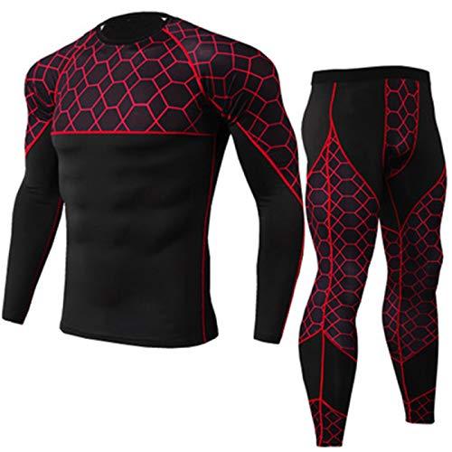 Traje de compresión para hombre con camisa de compresión + pantalones ajustados de manga larga de secado rápido para fitness, gimnasio, yoga