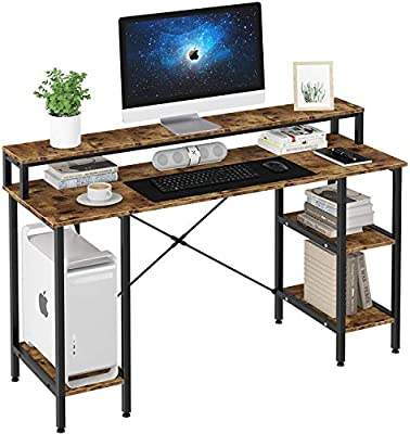 """oneinmil Industrial Computer Desk 55"""", Office Desk with Printer Monitor Shelf Storage Shelf CPU Stand, Studying Writing Table for Home Office"""