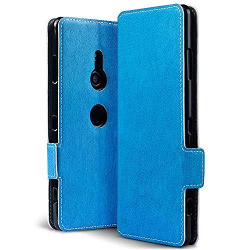 TERRAPIN, Kompatibel mit Sony Xperia XZ3 Hülle, Leder Tasche Hülle Hülle im Bookstyle mit Standfunktion Kartenfächer - Hellblau