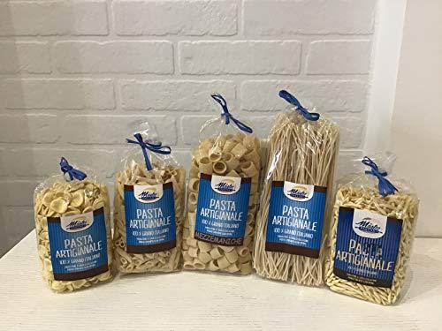 Confezione dispensa - Orecchiette, Penne rigate, Mezzemaniche, Spaghetti, Fusillo paesano - Pasta prodotta con metodo artigianale - 1 Confezione per tipo da 500gr