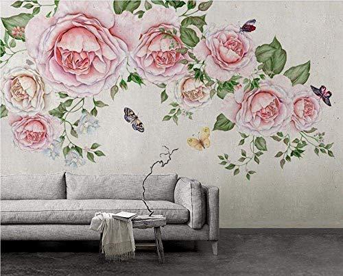 Papel pintado 3D Fondos de pantalla for las paredes de la mariposa Rose -150Cmx110Cm papel pintado Flor Hoja Rosa Mural Dormitorio Sala Comedor Sala Paredes papel tapiz de fondo Art Deco papel pintado