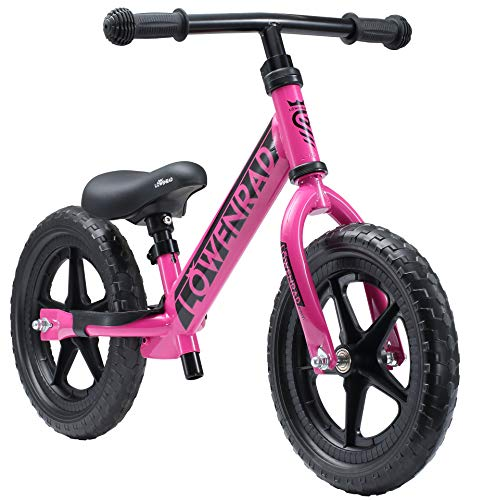 LÖWENRAD Kinderlaufrad ab 3, 4 Jahre, 12 Zoll Jungen und Mädchen Laufrad, leichtes Kinderrad Lauflernrad höhenverstellbar, Berry | Risikofrei Testen