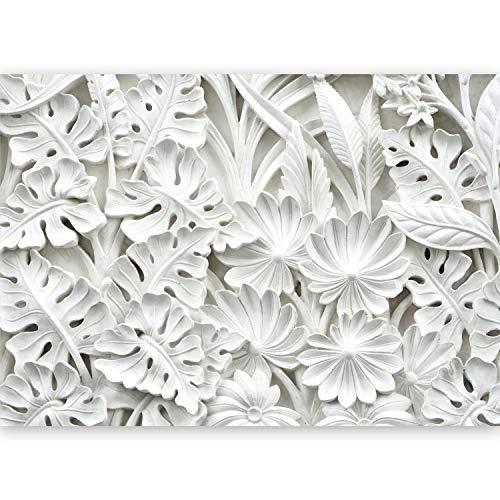 murando - Fototapete XXL Blätter 500x280 cm Vlies Tapeten Wandtapete XXL Moderne Wanddeko Design Wand Dekoration Wohnzimmer Schlafzimmer Büro Flur Blumen weiß f-B-0058-a-a
