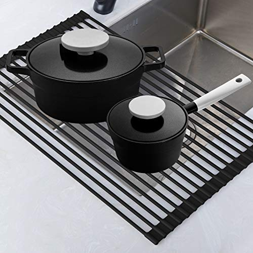 Roll Up Rack, Collapsible Dish Drying Rack-In The Sink Drying Mat-Multipurpose Dish Drainer-Rv Dish Drying Rack-Fruits and Vegetable Rinser-Durable Silicone Covered Stainless Steel Black, TECI TCF001B