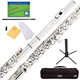 Mendini Nickel Silver Closed Hole C Flute with...