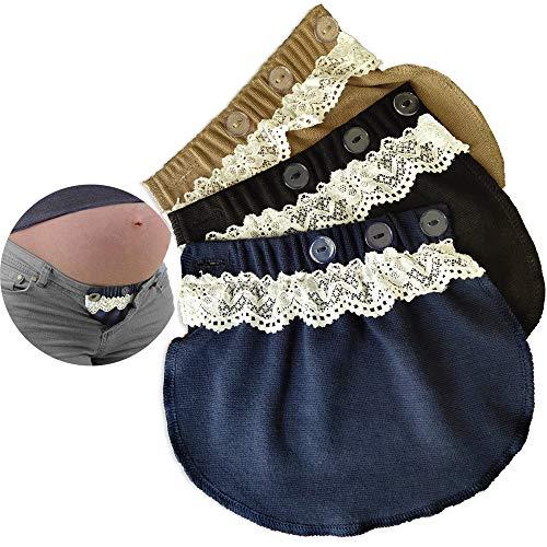 kangyh Set di 3 barelle con Fibbia per Pantaloni in Gravidanza a 3 Colori (Nero, Blu, Kaki)