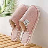 QPPQ Zapatillas de algodón para mujer y hombre, zapatillas de otoño e invierno, zapatillas de algodón para interiores y exteriores, color rosa 4.5-5, cómodas zapatillas de algodón para interiores