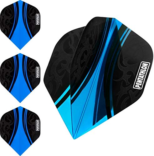 ABC Darts Flights Pentathlon - Tribal Cyan Blau - 10 sätz (30 stück Dart Flights)