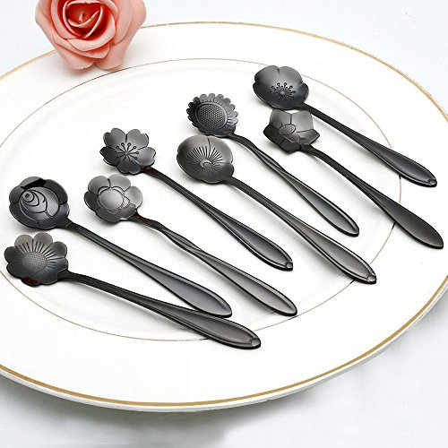 Alonea Vintage Flower Shape Icecream Tea Coffee Spoon Small Condiment Spoons Sugar Soup Spoons (D)
