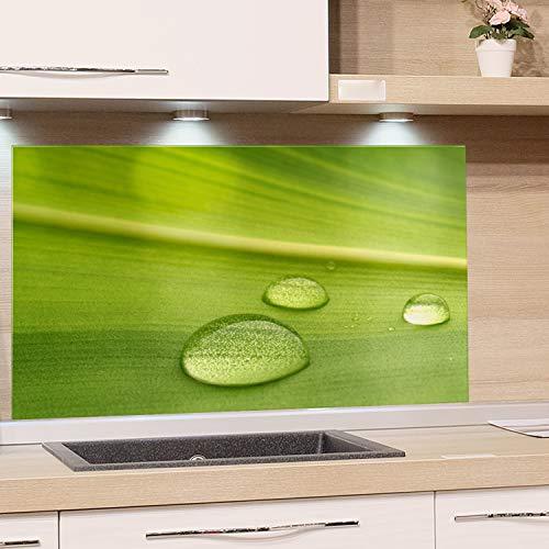 GRAZDesign Küchenrückwand Glas Grün - Spritzschutz Küche Herd - Glasrückwand als Glasbild / 60x40cm