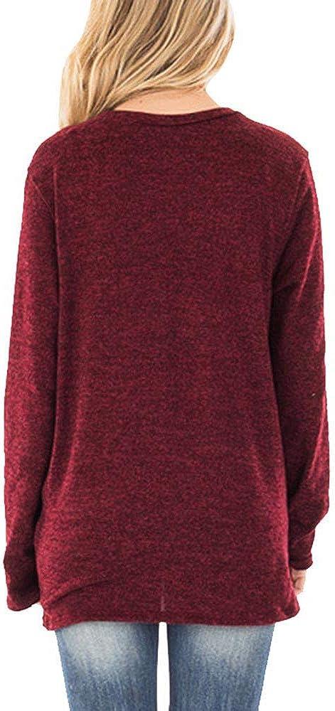 OverDose Damen Herbst täglichen Stil Frauen Mode lose Langarm O-Ansatz beiläufige Party Ausflug Solid T-Shirt Bluse Tops Pullover Outwear Weinrot