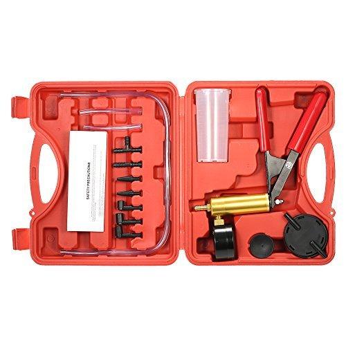KKmoon Professionelles Vakuum-Tester-Kit, Auto, Vakuum-Druckpumpe Bremsentlüfter Adaptor Flüssigkeitsbehälter Tester, Test-Kit 2-in-1, 17-teilig