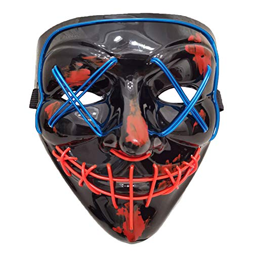 AUHOO LED Light Up Purge Mask Halloween Mask Scary Masks 3 Flash Modes for Adults, Kids, Party Favors