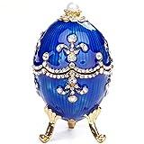 Ocobudbxw Organizador de Joyas Fabergé Egg Jewelry Vintage StyleTrinket Box (Azul)