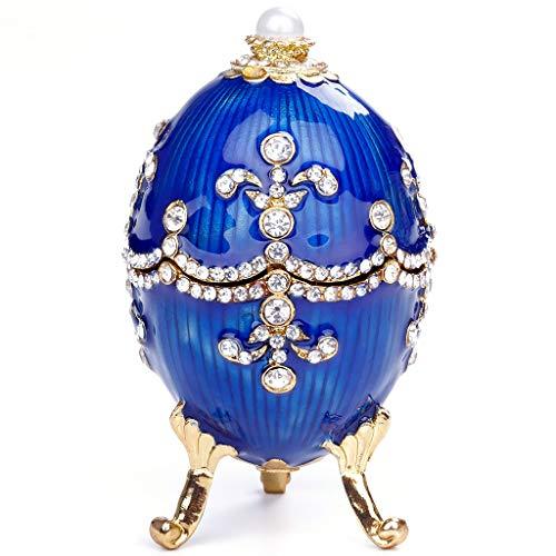 Yushu Joyero organizador de joyas de huevo Vintage StyleTrinket, Aleación+cristal taladro Joyería/ornamentos/caja de palillo de dientes (azul)