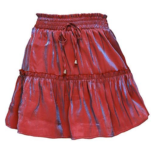 Falda para Mujer,Color Láser Rojo Sólido De Cintura Alta Elástico Panel De Volantes Moda Sexy Primavera Verano Versátil Falda Retro Elástica para Mujeres Fiesta De Niñas Oficina De Moda Inform