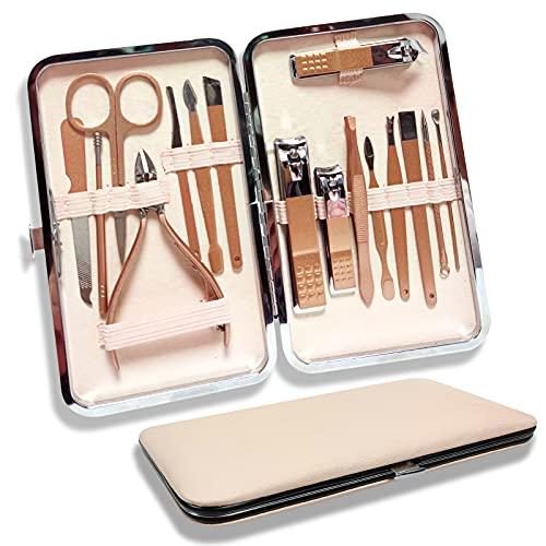Profesional Set de Manicura y Pedicura, Manicura Kit, 16 in 1 Cortaúñas Acero Inoxidable Grooming Kit, para Manicura y Pedicura Limpiador Cutícula,de Adecuado familias y viajes