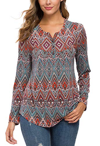 Urban CoCo Women's Ethnic Style Shirt Floral Print Long Sleeve Tops for Women (L, 3)