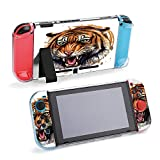 SUPNON Portrait Of A Growling Tiger On A White Compatible with Nintendo Switch Console & Joy-Con Protective Case, Durable Flexible Shock-Absorption Anti-Scratch Drop Protection Cover Shell Design29647