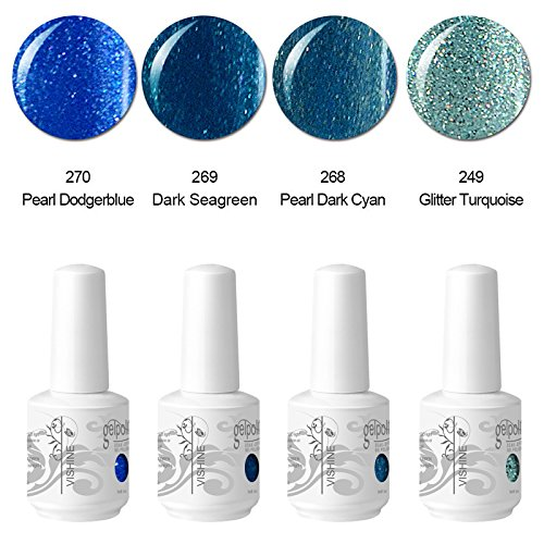Vishine Vernis à ongles Gel Semi-permanent Soak Off UV LED Nail Art Manucure Kit Lot de 4 Couleurs C115